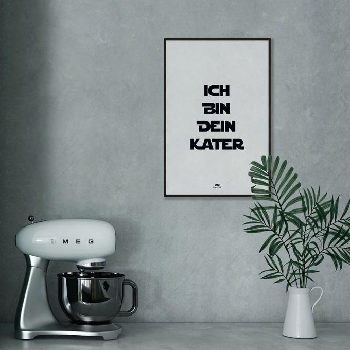 meezee FONT POSTER - ICH BIN DEIN KATER - white - 40 x 60cm