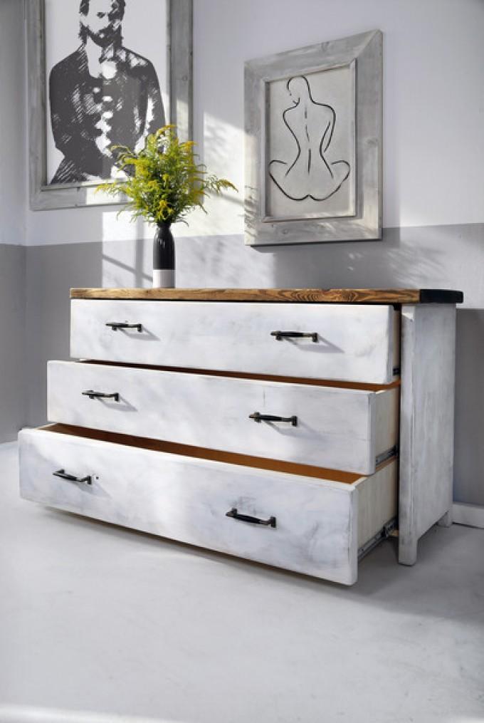 Kommode im Landhaus-Stil Inez in White Wash
