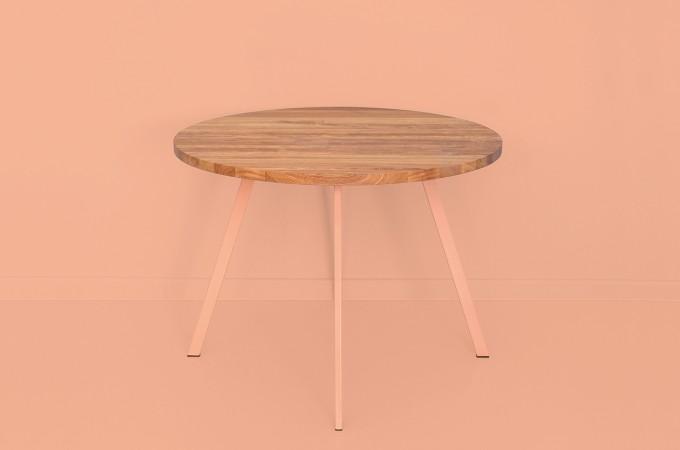 Runder Tisch aus recyceltem Eichenholz und Stahl |POLPO by JOHANENLIES