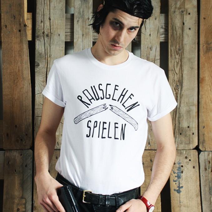 """KINDERGELD ORGANIC Mens Roll Sleeve T-Shirt  """"JOHANN"""" (RAUSGEHEN SPIELEN)"""