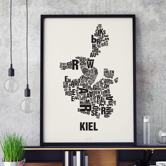 Buchstabenort Kiel Stadtteile-Poster Typografie Siebdruck