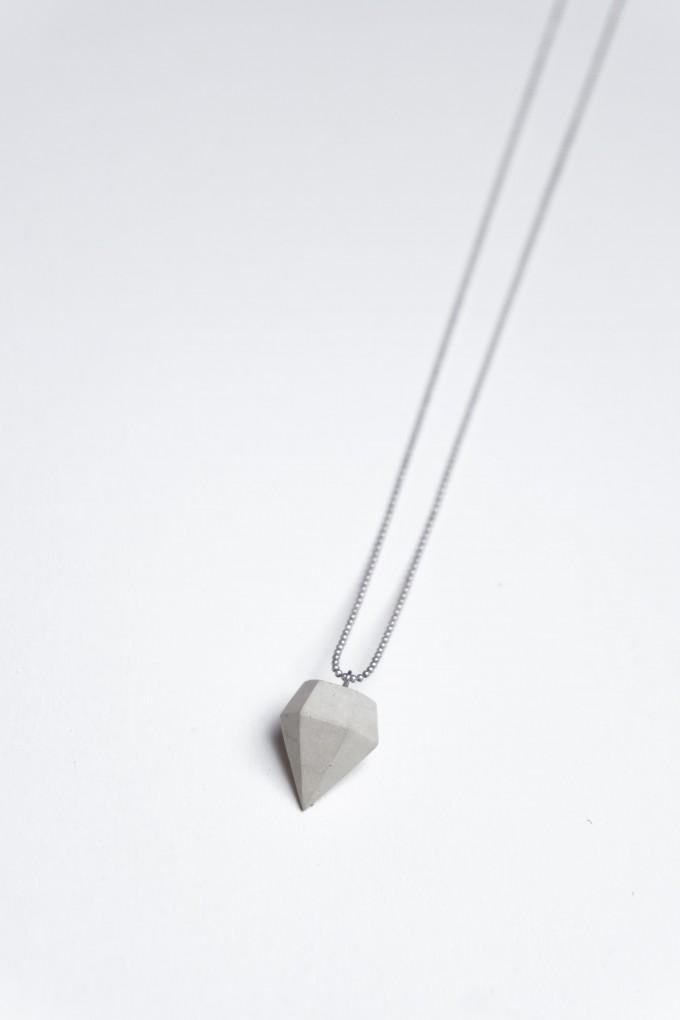 Klunkergrau Betonschmuck | Dünner Klunker - Diamant aus Beton