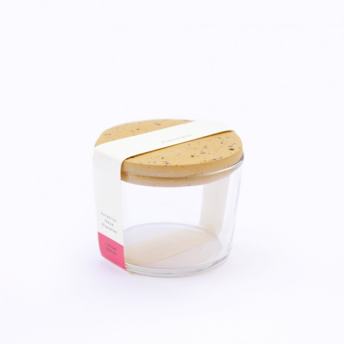 VLO design / Salz Glas mit ockem Deckel