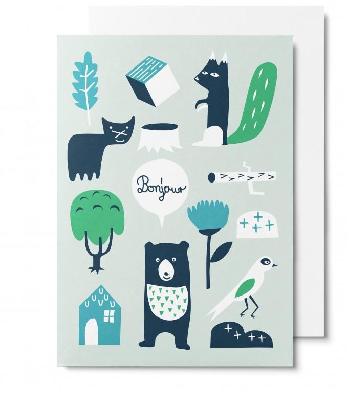 UNTER PINIEN Waldtiere - grün - Klappkarte mit Umschlag