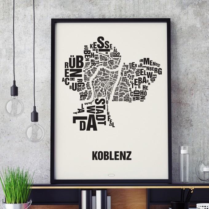 Buchstabenort Koblenz Stadtteile-Poster Typografie Siebdruck