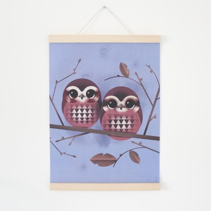 KLEINWAREN / VON LAUFENBERG Set / Baby Owls + Posterleiste Ahorn A3