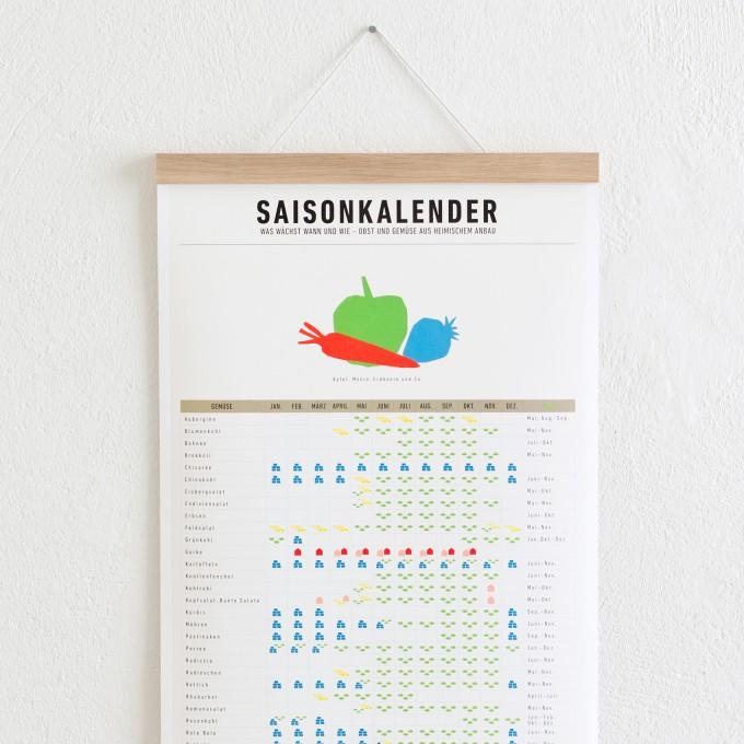 Set / Saisonkalender + Magnetische Posterleiste Eiche A3