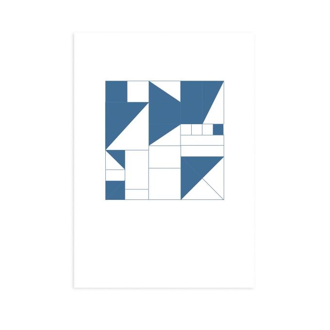 Postkarte Geometrisch blau