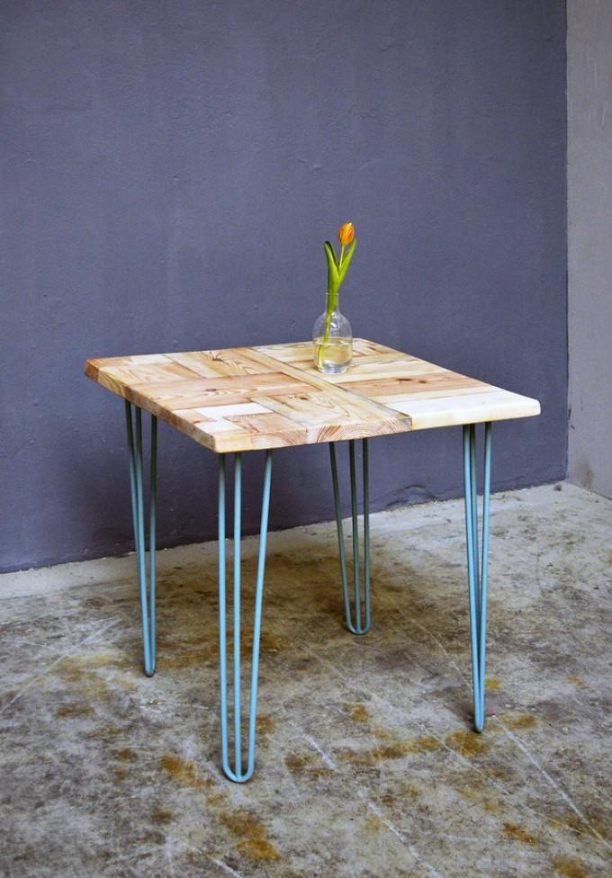 Küchentisch Bauholz & Hairpin legs, Ninon 70x70cm