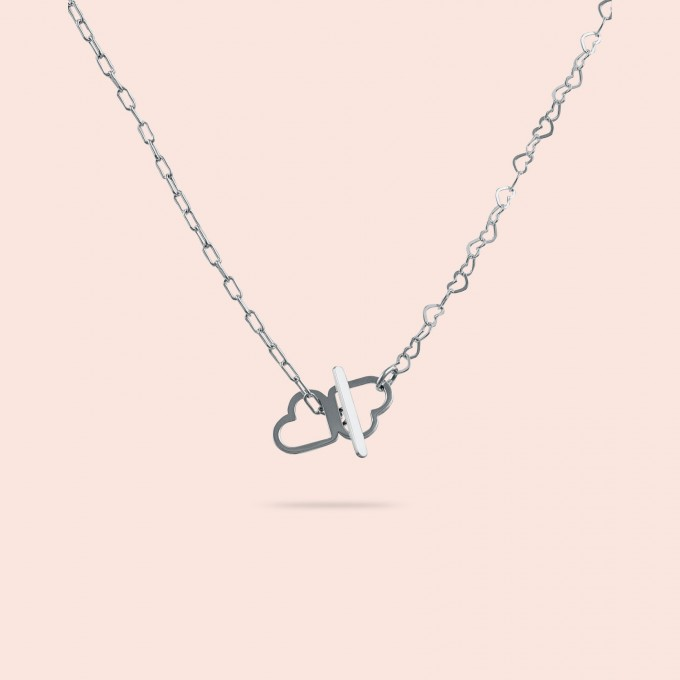 related by objects - just hearts extended necklace - 925 Sterlingsilber weiß rhodiniert