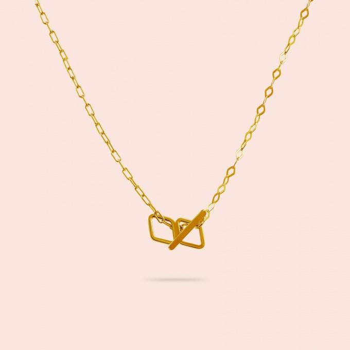 related by objects - just diamonds extended necklace - 925 Sterlingsilber 18k goldplattiert