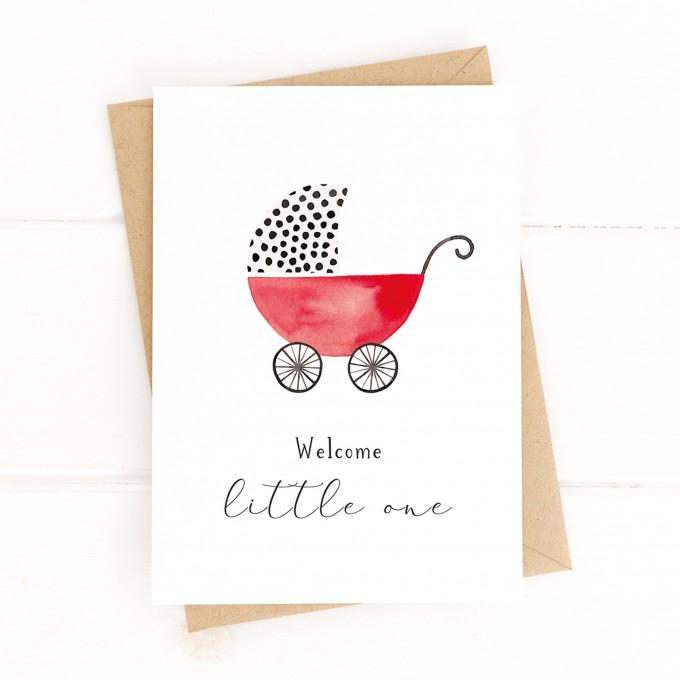 "Paperlandscape | Aquarell Glückwunschkarte ""Welcome Little One"" | A6 Faltkarte | Geburtskarte | Kinderwagen | verschiedene Farben"