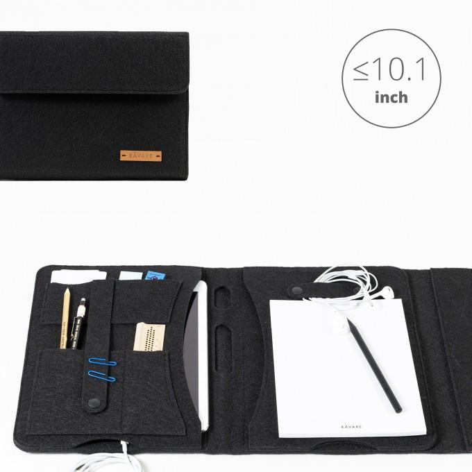 RÅVARE Tablet Organizer für kleine und mittlere Tablets ≤10.1″ mit Schreibblock, iPad, Samsung in schwarz [KORA M]