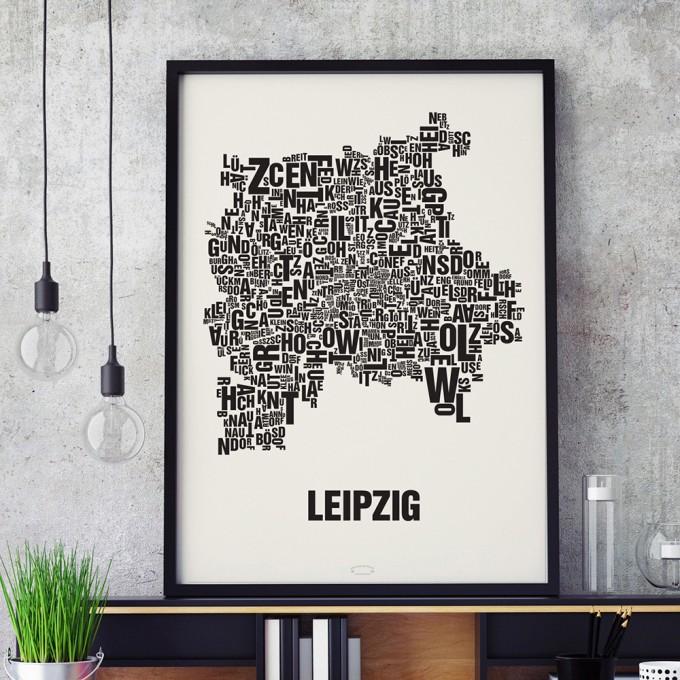 Buchstabenort Leipzig Stadtteile Poster Typografie Siebdruck Selekkt Com