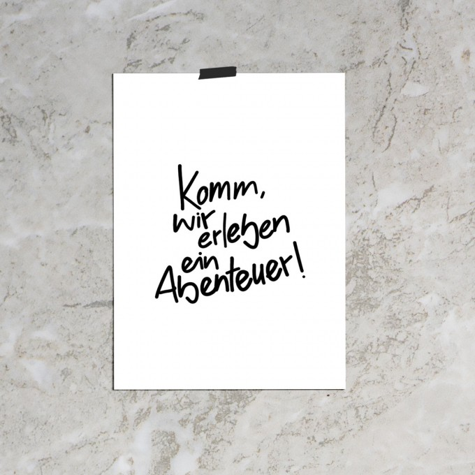 """Love is the new black — Poster """"Abenteuer"""", Din A4 Format"""