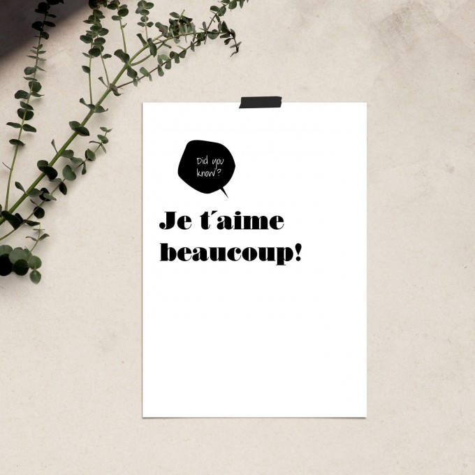 "Love is the new black — Poster ""JE T'AIME BEAUCOUP / POSTER"", Din A4 Format"