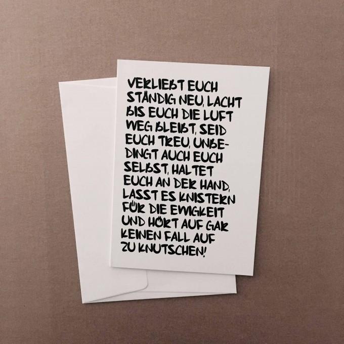 """Love is the new black – Grußkarte """"Verliebt euch ständig neu"""""""