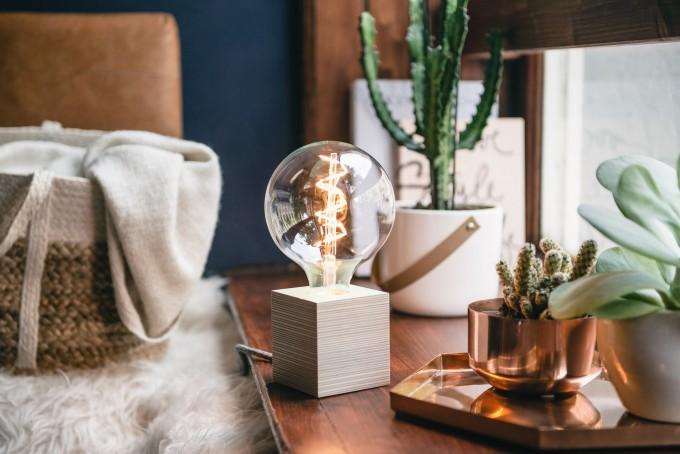 """Lichtliebe Tischleuchte """"Rekoo"""" in mint und grau meliert inkl. Edison Spiral LED im Retro Design mit nur 1,8 Watt"""