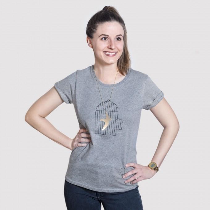 Luft und Liebe - Vogel im Käfig - T-Shirt und Kette