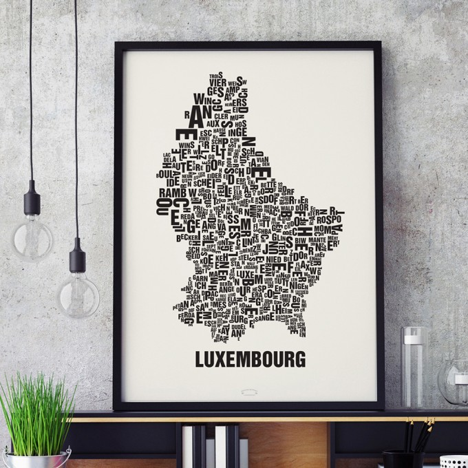 Buchstabenort Luxembourg Luxemburg Lëtzebuerg Land Poster Typografie Siebdruck