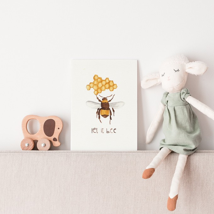 "hasenkinder - Aquarellbild 18x24cm ""let it bee"""