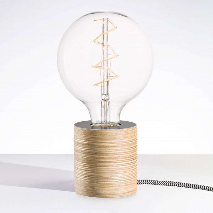 """Lichtliebe Tischleuchte """"Fafoo"""" in steingrau und schwarz-weiß inkl. Edison Spiral LED im Retro Design mit nur 1,8 Watt"""