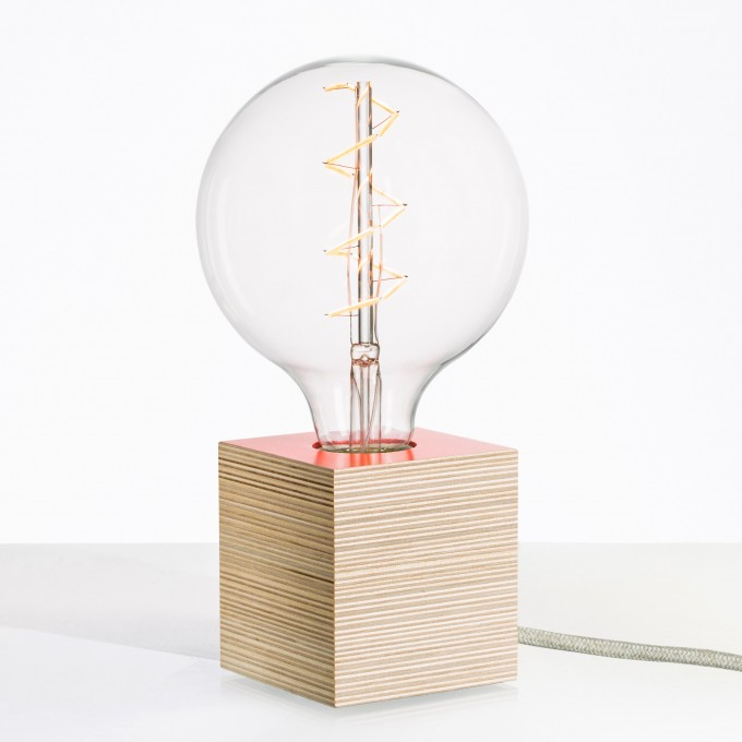 """Lichtliebe Tischleuchte """"Rekoo"""" in korall und Leinen natur inkl. Edison Spiral LED im Retro Design mit nur 1,8 Watt"""