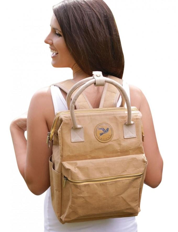 cce0837934943 Neu PAPERO Rucksack LYNX aus Kraft- Papier 2 in 1 Handtasche