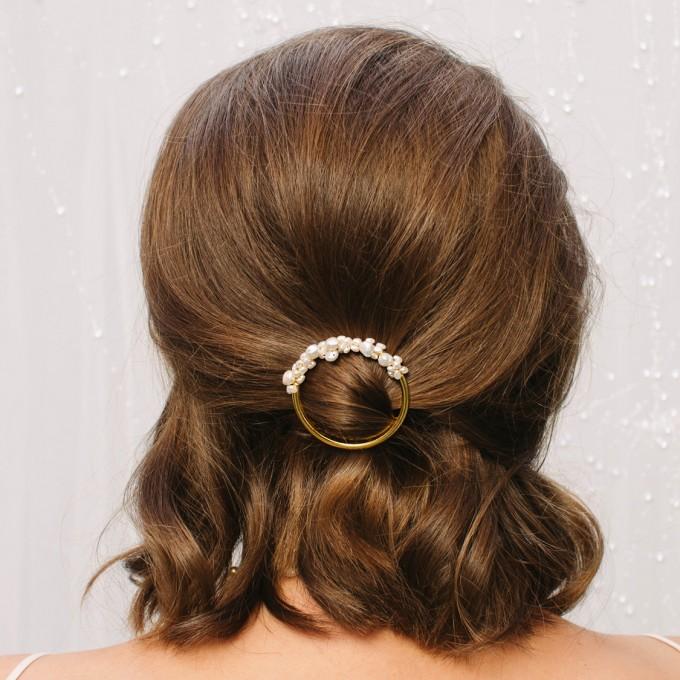 ST'ATOUR MAGNA HALF - Haarspange mit Perlen in Gold, Silber oder Roségold