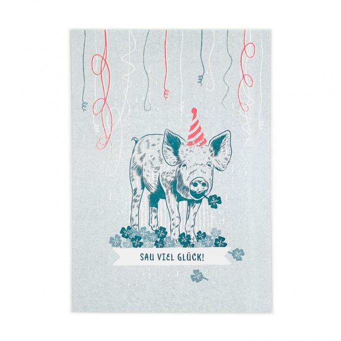 Feingeladen // LOVELY BEASTS // Piggy »Sau viel Glück!« (TLFR), RISO-Kunstdruck, A5