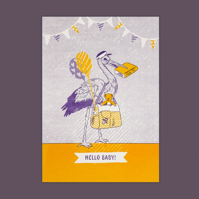 Feingeladen // LOVELY BEASTS // Stork »Hello Baby« (PPSF), RISO-Kunstdruck, A5