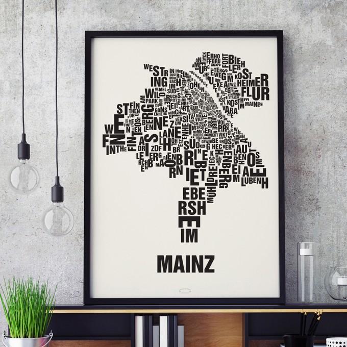 Buchstabenort Mainz Stadtteile-Poster Typografie Siebdruck