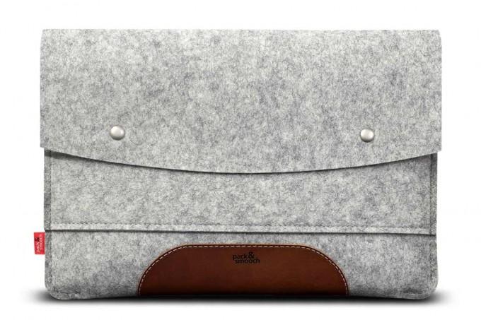 "MacBook Pro 15"" Sleeve (Touch Bar / Touch ID) 100% Merino Wollfilz (Mulesing-frei), Pflanzlich gegerbtes Leder"