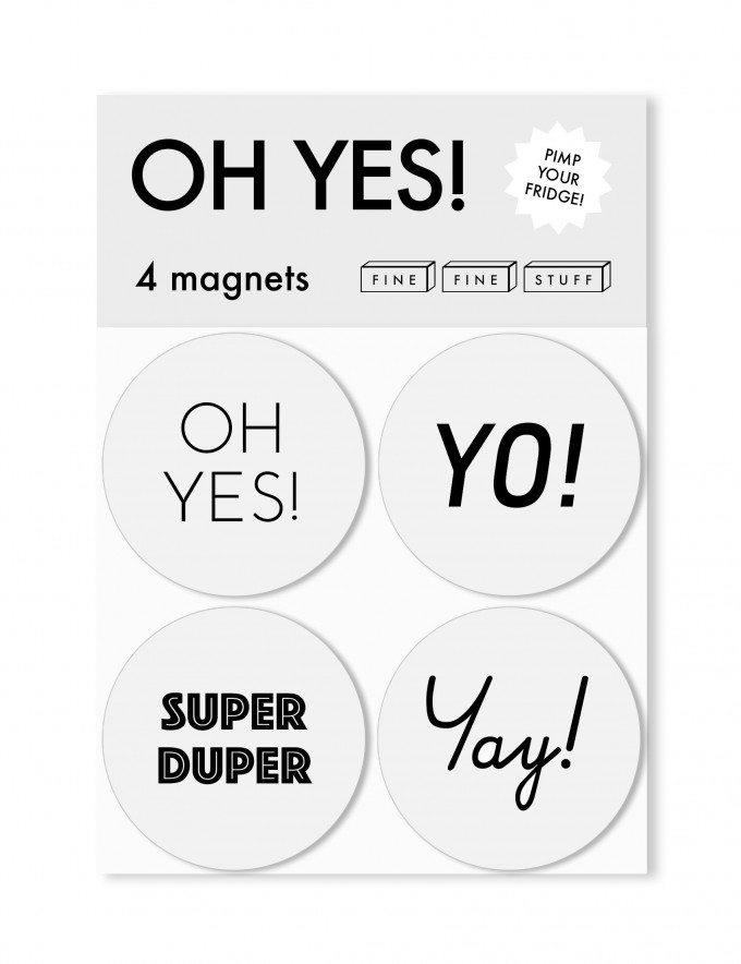 FINE FINE STUFF - Kühlschrankmagnete - Magnete - 4 Stück - OH YES!