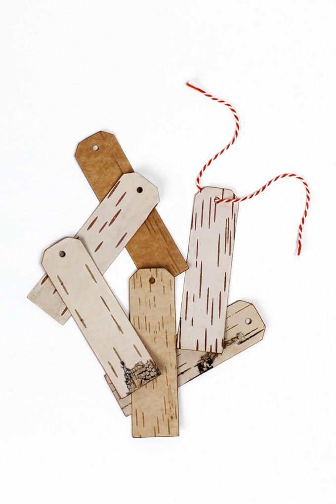 MOYA Geschenkanhänger aus beschreibbarer Birkenrinde - LANG - 6 Stück