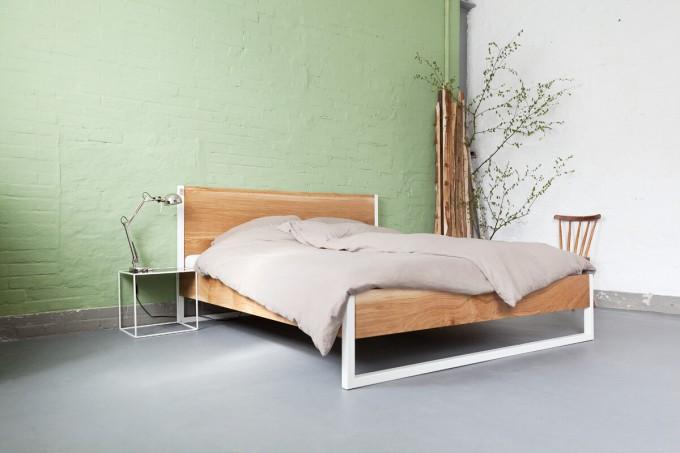 n51e12 nature oak bed eiche stahl. Black Bedroom Furniture Sets. Home Design Ideas