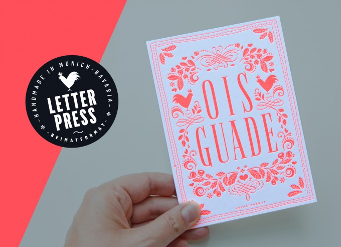 OIS GUADE Geburtstagskarte – Neon-Letterpress inkl. Kuvert