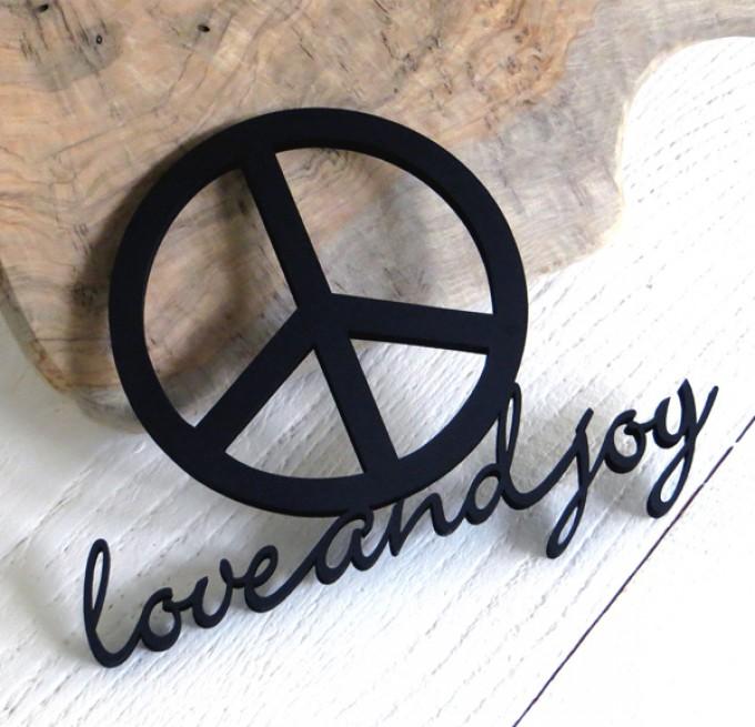 NOGALLERY love and joy - Deko Schriftzug Holz
