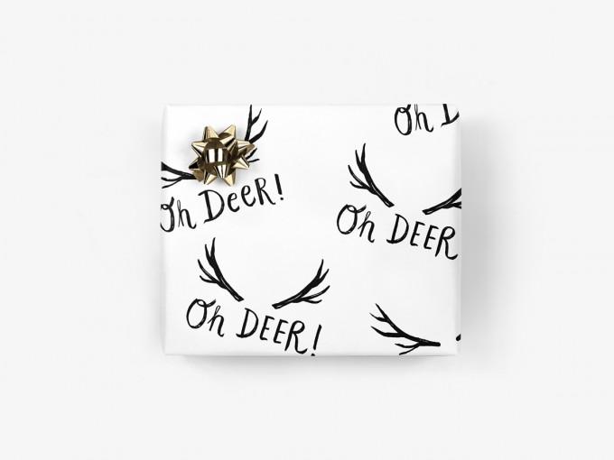 5x Geschenkpapier / Oh Deer (gefaltet)