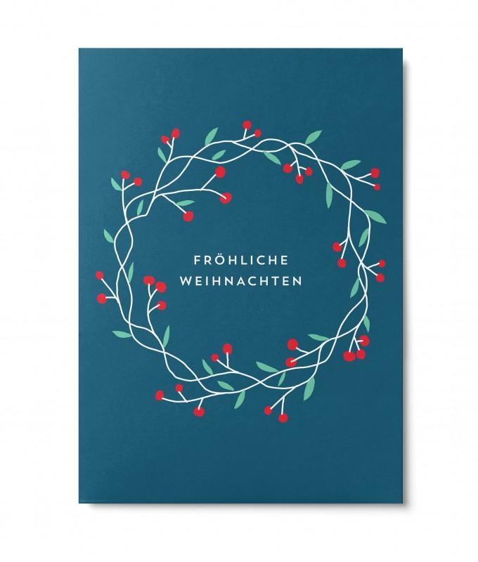 UNTER PINIEN – Weihnachtskranz – Postkarte