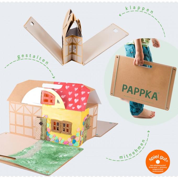 PAPPKA® Haus – Mach was draus! Klappbares Spielhaus für mehr Kreativität und Platz im Kinderzimmer – natürlich aus stabilem Karton