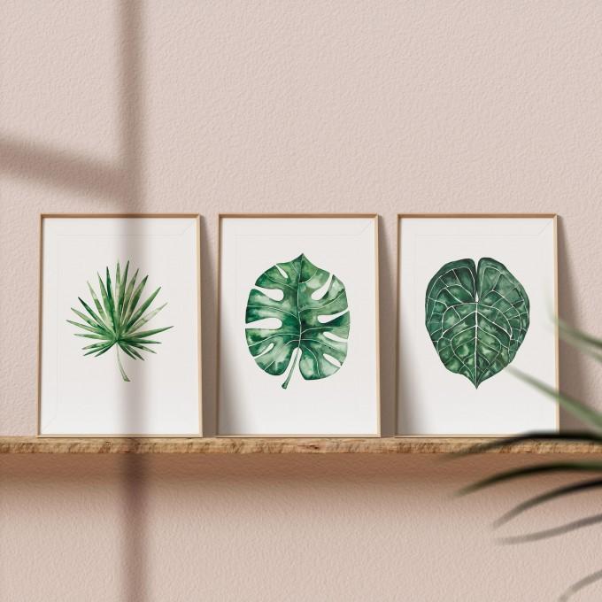 "Paperlandscape   3er Set Aquarell Kunstdrucke ""Palmblätter""   Pflanze   Palmblatt   verschiedene Größen"