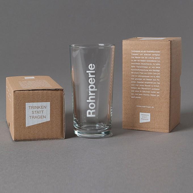 Patentgrau Wasserglas Rohrperle