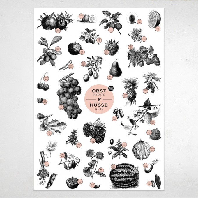 "Amy & Kurt Berlin A2 Plakat ""Obst & Nüsse"""