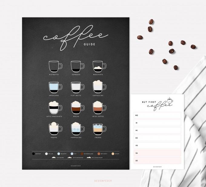 designfeder | Poster & Notizblock Coffee black