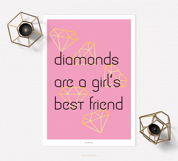 designfeder | Poster Diamonds are a girl's best friend