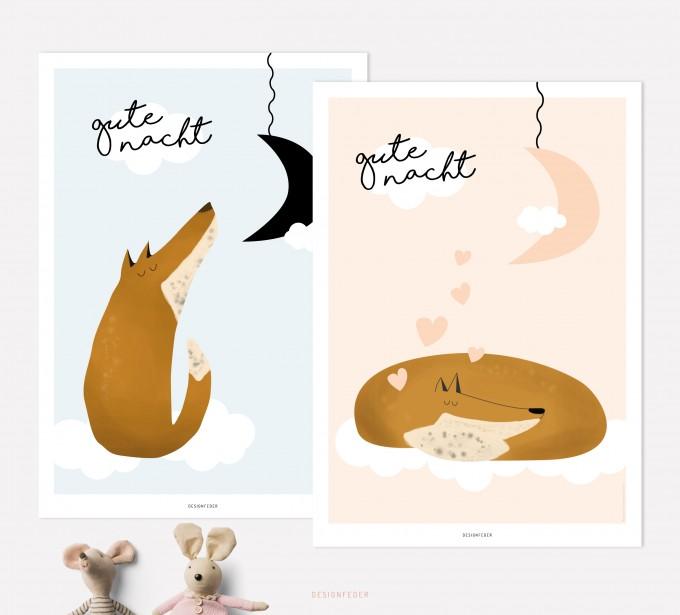 designfeder   Poster Gute Nacht kleiner Fuchs 3