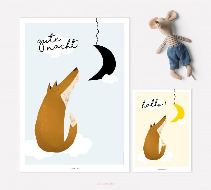 designfeder | Poster & Postkarte Gute Nacht kleiner Fuchs