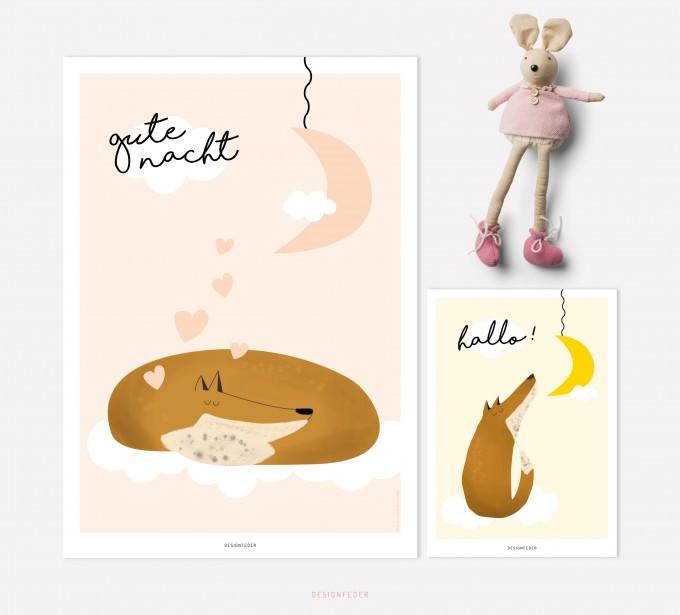 designfeder | Poster & Postkarte Gute Nacht kleiner Fuchs 2