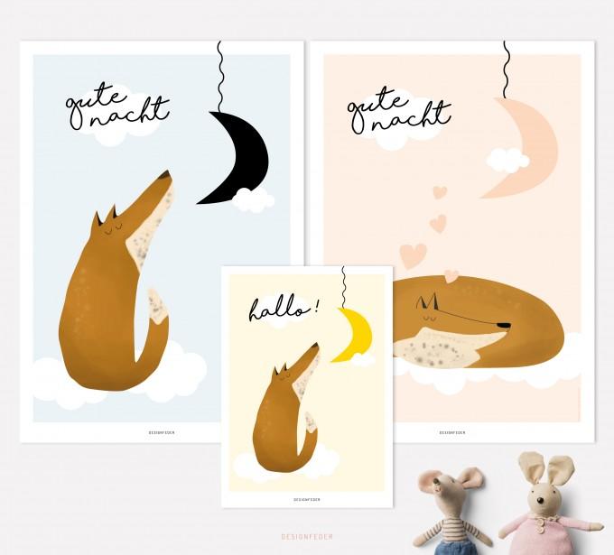 designfeder | Poster & Postkarte Gute Nacht kleiner Fuchs 3
